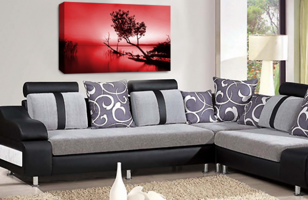 Landscape Wall Art Red White Grey Seascape Picture Print
